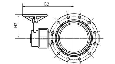 Drawing: Butterfly shut-off valves End-version DN 65-600