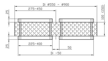 Drawing: Wire mesh Typ DA up to DN 1000