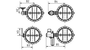 Drawing: Butterfly throttle valves DN 50-2000