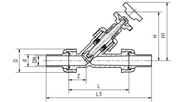 Drawing: Manual shut-off valves DN 15 - 50